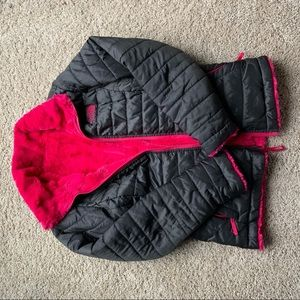 Reversible pink and grey north face